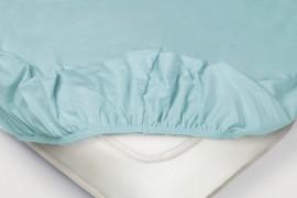 Простыня на резинке Трикотажная — голубой